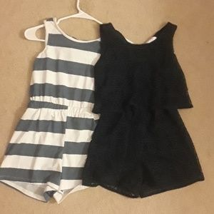 Other - Girls Striped And Laced Romper Bundle